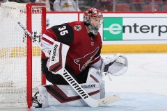 GLENDALE, ARIZONA - MARCH 26:  Goaltender Darcy Kuemper #35 of the Arizona Coyotes in action during the second period of the NHL game against the Chicago Blackhawks at Gila River Arena on March 26, 2019 in Glendale, Arizona. The Coyotes defeated the Blackhawks 1-0.  (Photo by Christian Petersen/Getty Images)
